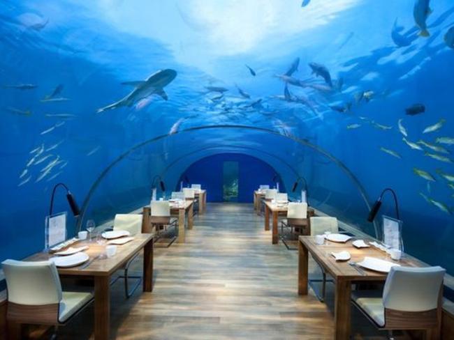 Conrad Maldives Rangali Island - podvodní restaurace Ithaa